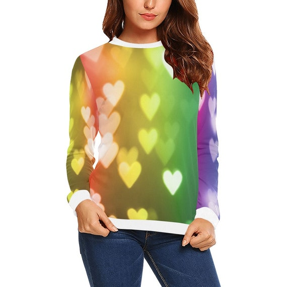 Discontinued!! .. Discontinued!! .. Rainbow Hearts Women's Long Sleeve Shirt