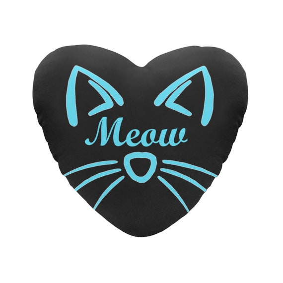 Discontinued!! .. Black with Blue Text Meow Cat Face Decorative Heart Shaped Throw Pillow