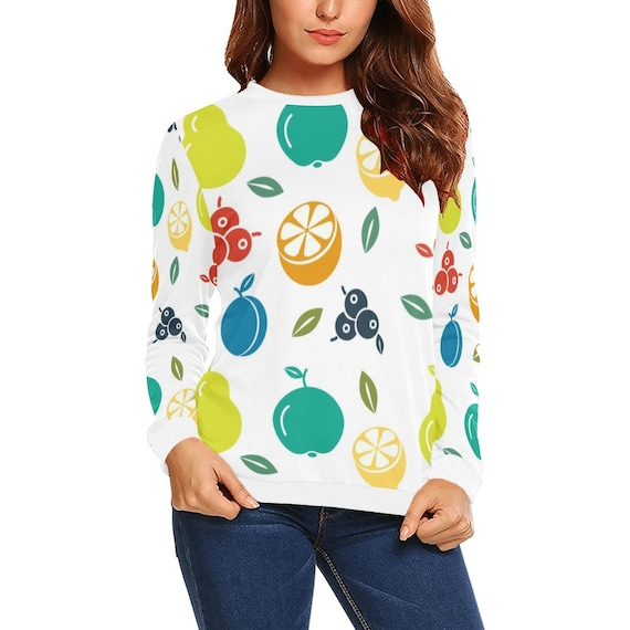Discontinued!! .. Discontinued!! .. Summer Fruit Women's Long Sleeve Shirt , White