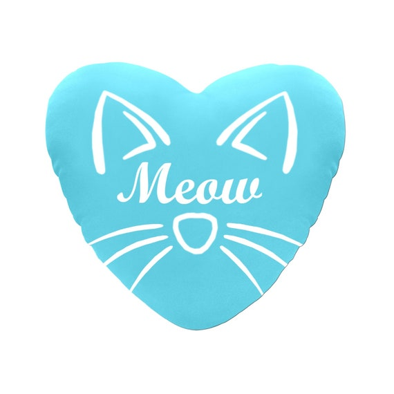 Discontinued!! .. Blue with White Text Meow Cat Face Decorative Heart Shaped Throw Pillow