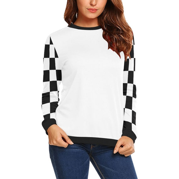 Discontinued!! .. Women's Long Sleeve Shirt with Black and White Checker Sleeves , White