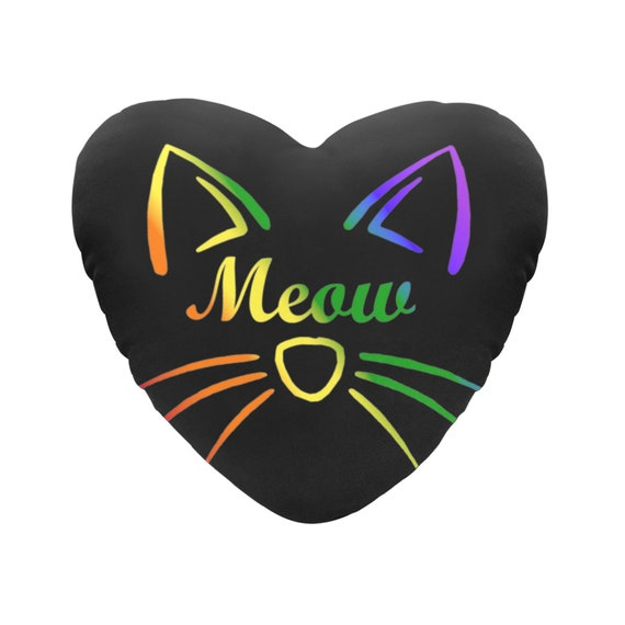 Black with Rainbow Text Meow Cat Face Decorative Heart Shaped Throw Pillow
