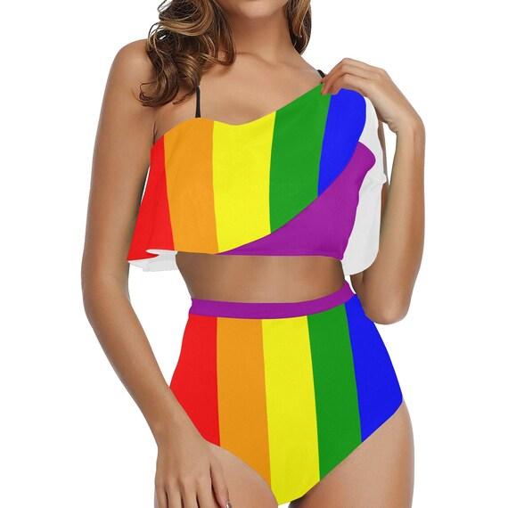 LGBTQ Pride Rainbow Waisted Flounce Bikini Set