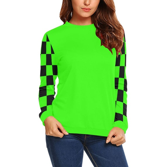 Discontinued!! .. Discontinued!! .. Green and Black Checker Sleeves Women's Long Sleeve Shirt , Green