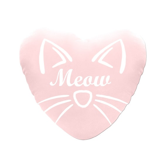 Pink with White Text Meow Cat Face Decorative Heart Shaped Throw Pillow