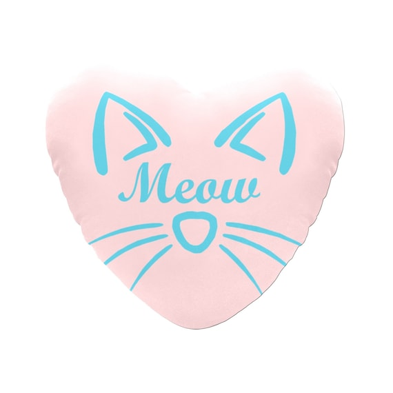 Pink with White Outline Text Meow Cat Face Decorative Heart Shaped Throw Pillow