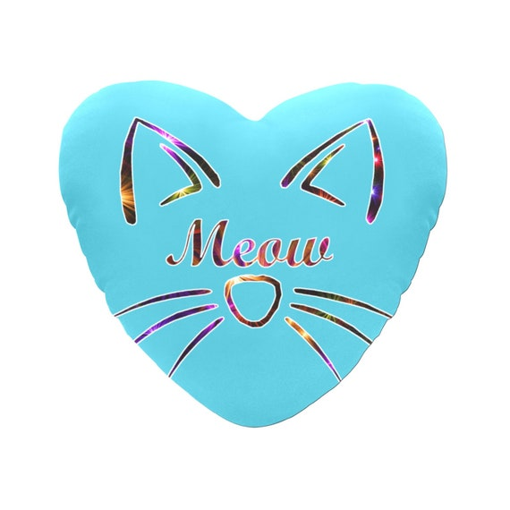 """Discontinued!! .. Blue with Rainbow Sparkle Text """"Meow"""" Cat Face Decorative Heart Shaped Throw Pillow"""