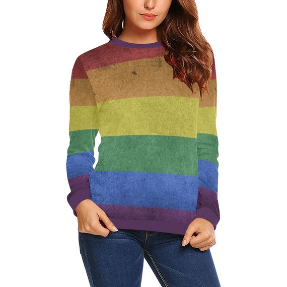 Discontinued!! .. Discontinued!! .. Rainbow Flag Women's Long Sleeve Shirt , Purple