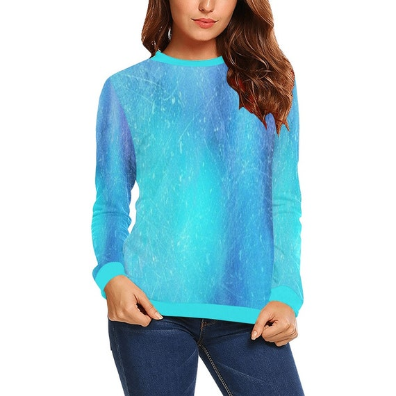 Discontinued!! .. Discontinued!! .. Tie Dye Look Women's Long Sleeve Shirt , Blue