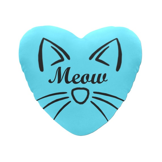 Blue with Black Text Meow Cat Face Decorative Heart Shaped Throw Pillow