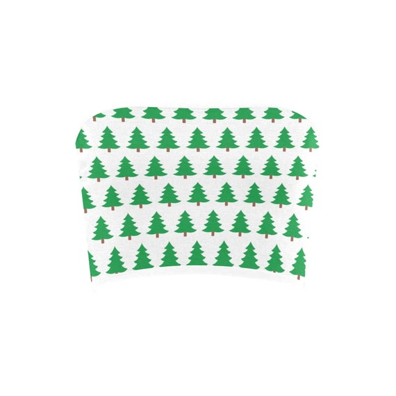 Discontinued!! .. Discontinued!! .. Green Christmas Trees Women's Bandeau Top , White