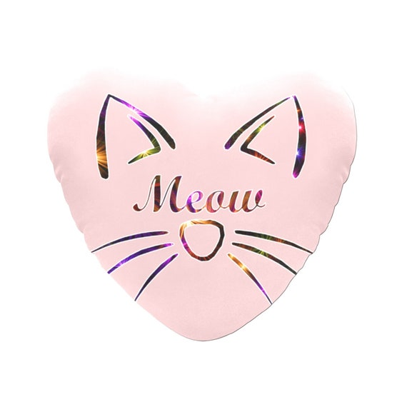"""Discontinued!! .. Pink with Rainbow Sparkle Text """"Meow"""" Cat Face Decorative Heart Shaped Throw Pillow"""