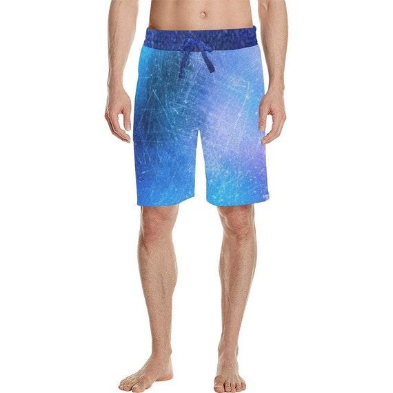 Light Blue Tie Dye Look  Men's  Casual Shorts