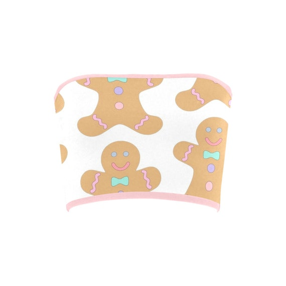 Discontinued!! .. Discontinued!! .. Gingerbread Christmas Cookies Women's Bandeau Top , Bluish Purple / Pink