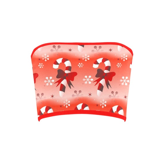 Discontinued!! .. Discontinued!! .. Christmas Candy Cane Women's Bandeau Top , Red