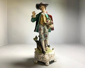 Gorgeous Antique German Rococo 1800s or 1900s Hand Painted Porcelain Figurine, Vintage Probably Dresden or Sitzendorf Figurine