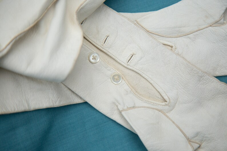 Vintage Victorian kid gloves long white evening gloves with original button fastenings