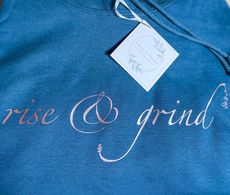 Rise /& Grind  Hoodie  Sweatshirt  Motivational  Fashion  Fitness  Activewear