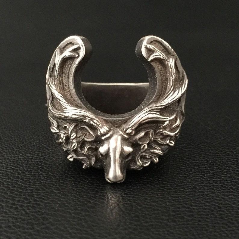 deer jewelry Deer head ring antler ring-handmade deer head ring