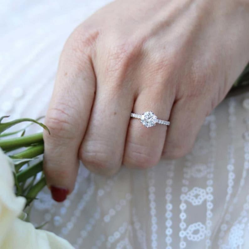 2.5 Ct Round Moissanite Ring Pave Setting Round Ring Lab Diamond Engagement Ring Ruhi Art Jewels Round Near Colorless Moissanite Ring