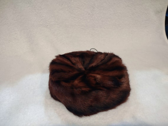 Vintage brown mink fur pill box hat