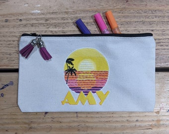 natural cotton painted pouch fashion illustrated canvas pencil case 2 Queens hand-painted pencil case hand-painted canvas pouch