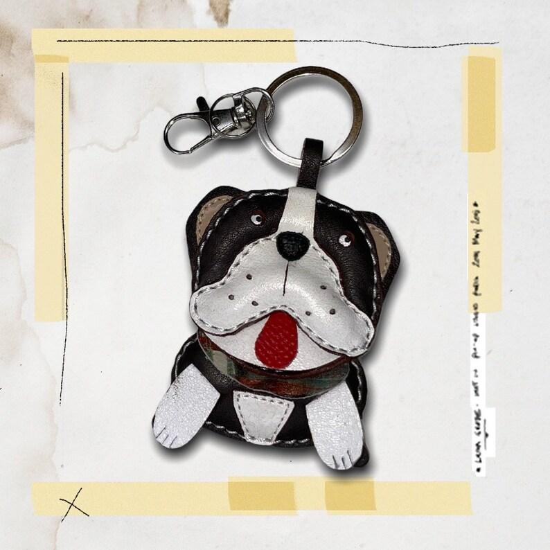 leather charm English Bulldog luxury leather keychaincharm