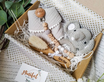 Custom Newborn Personalised Baby Gift Box Natural Wooden Set
