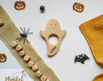 Personalised Wooden Halloween Ghost Pumpkin Baby Gift