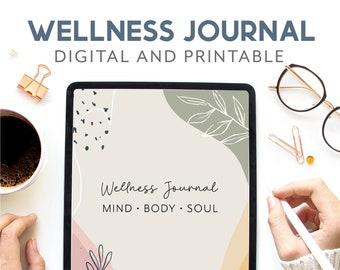 Wellness journal digital, Mindfulness journal printable, Self care workbook, Mental health templates, Self Love journal, Positivity planner