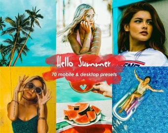 70 Hello Summer Lightroom Presets for Mobile and Desktop | Instagram Presets | Influencer Presets | Blogger Presets | Chic Presets