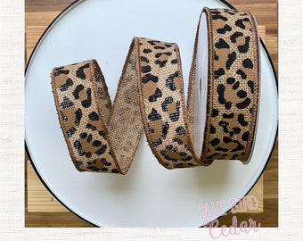Leopard Wired Ribbon by the Roll 1.5 inches and 2.5 inches wide x 10 yards