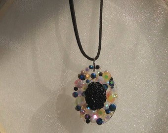 embedded w pearls and gems Black Flower Bouquet Pendant