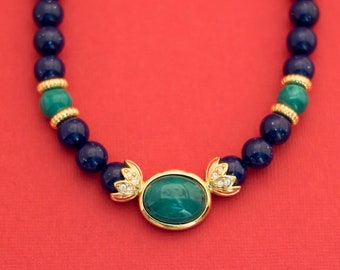Vintage Gold/Green/Blue Beaded Necklace 19 Inches F2