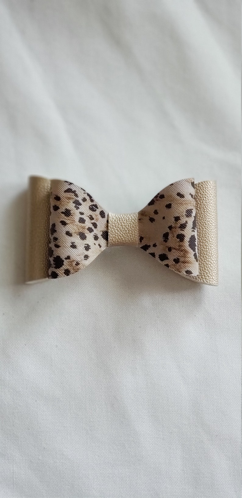 leopard print bow Faux Leather Hair Bow