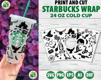 Full Wrap Starbucks Svg Magic Starbucks Cup SVG Wizard Starbucks Cups Wrap For Cricut
