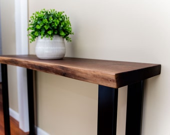 Live Edge Console Table, Walnut Entryway Table, With Metal Legs, Hallway Table, Foyer Table, Thin Console Table, Black Walnut, Industrial