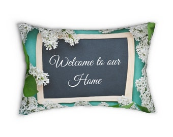 14 x 20. Beautiful Welcome to our Home Rectangle Accent Pillow