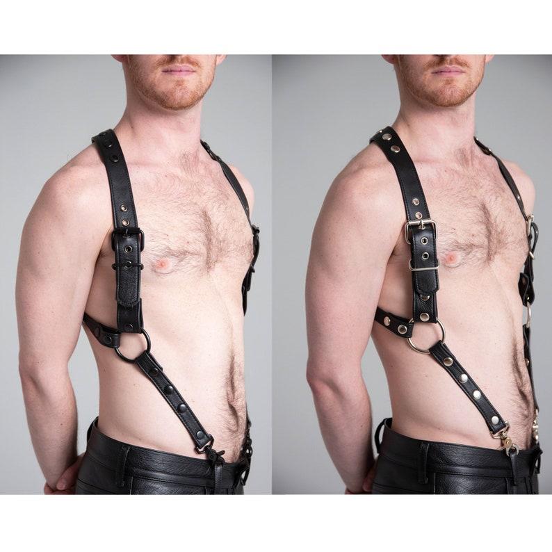 Men leather suspender Black LEATHER SUSPENDER with black or silver snap and ring BDSM fetish