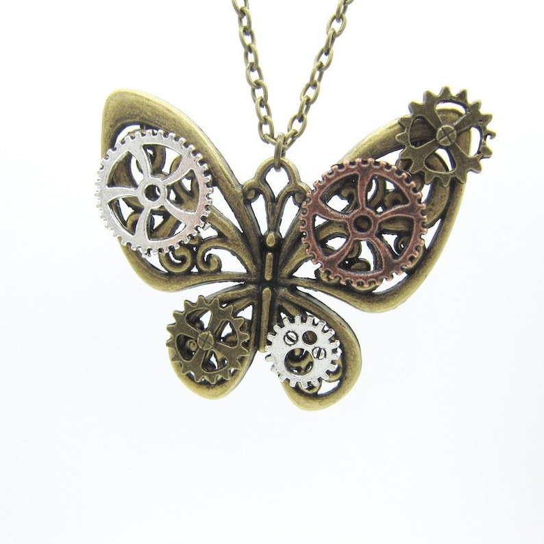Steampunk Jewelry Necklace butterfly Gear Steampunk Necklace Steampunk pendant steampunk necklaces for women