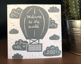 NEW BABY CARD, handmade new baby card, new baby girl card, new baby boy card, 2021, welcome to the world card, hand printed card, linocut