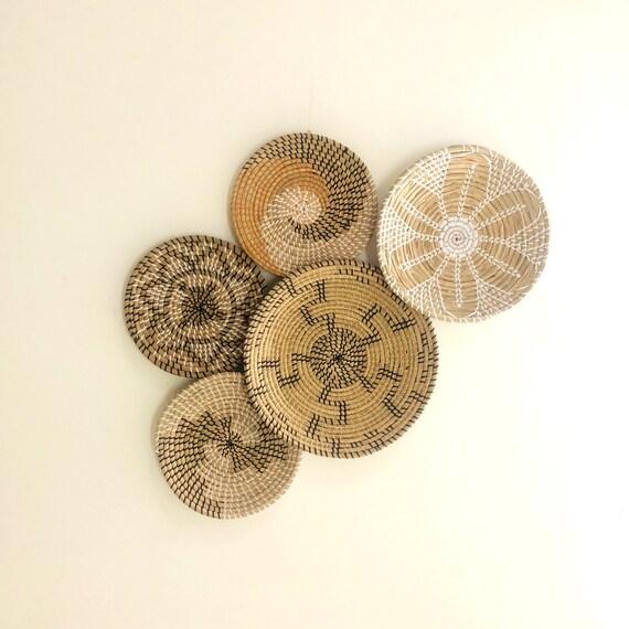 Set of 5 Hanger Wall Plate, Wall Baskets, Boho Wall Art, Bohemian Basket, Wicker Wall Tray, Wicker Baskets, Basket Wall Decor, Wall Hanging.