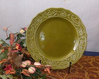 "Canonburg Pottery Company Regency Ironstone Green Dinner Plate 10"""