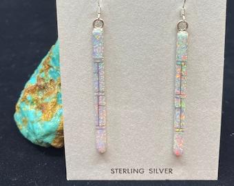 Sterling Silver White Opal Stick Earrings I Inlay Earrings