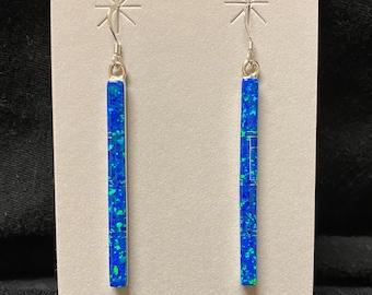 Sterling Silver Blue Opal Stick Earrings