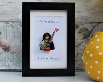 Personalised MOTHER/'S DAY SUPERHERO present// Birthday Gift//GRANDMA Keepsake art