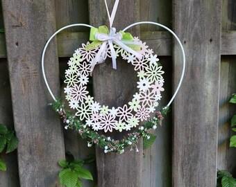 Door wreath, window decoration, window hanger, heart with flower wreath