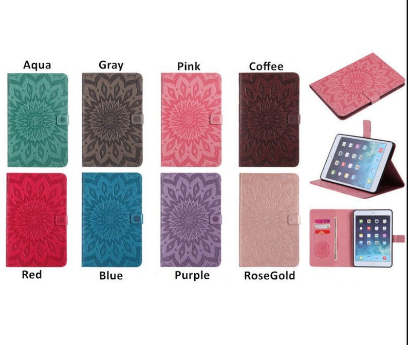 Floating Sunflower Pattern iPad Case with Card Holder for iPad Pro 9.7 iPad 9.7 20172018 Pro 10.5