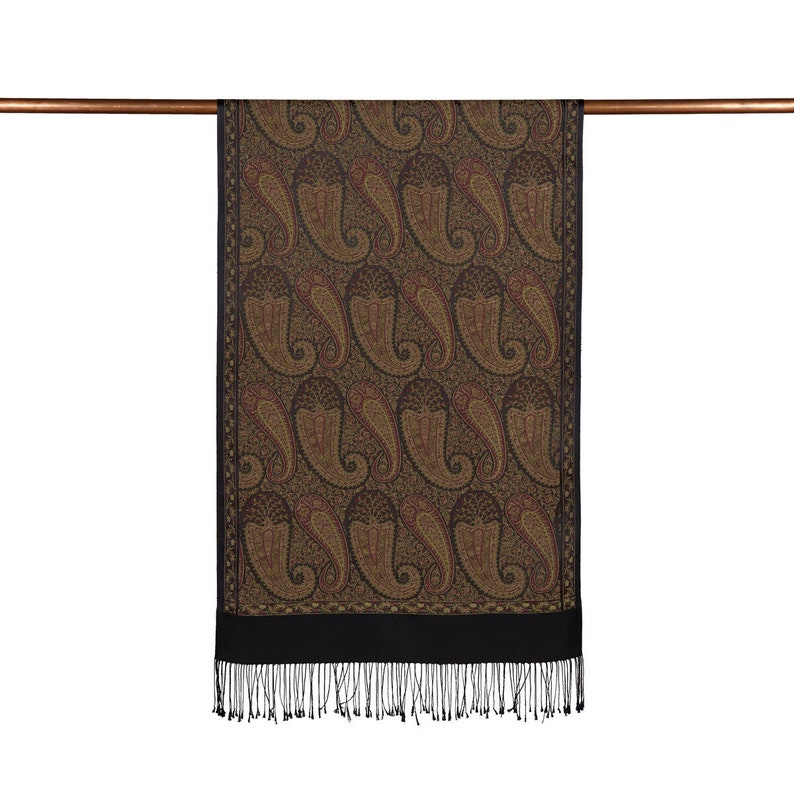 Gift for her Black Frame Paisley Stole Beige Neck Scarf for Ladies Silk Scarf and Shawl for Woman Foulard en Soie