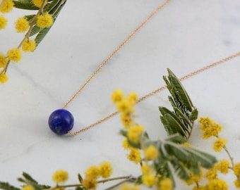 Lapis Lazuli Single Bead Necklace with 14k Solid Gold Chain , Blue White Opalit Ball Necklace, September Birthstone Jewelry, Gemstone Choker